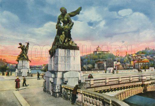Torino - Ponte Umberto I e Monte dei Cappuccini. Photograph from Ricordo di Torino (c 1930).