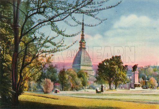 Torino - Mole Antonelliana e Monumento al Carabiniere. Photograph from Ricordo di Torino (c 1930).