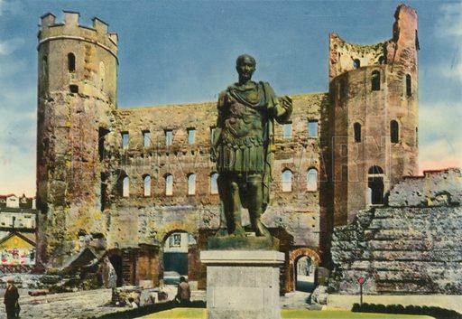 Torino - Torri Palatine - Statua di Giulio Cesare. Photograph from Ricordo di Torino (c 1930).