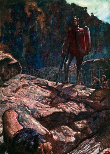 Greatheart Drives back the Lion. Illustration for The Pilgrim's Progress (Charles Scribner, c 1910).