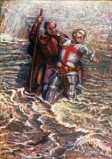 Hopeful Helps Christian to Cross the River. Illustration for The Pilgrim's Progress (Charles Scribner, c 1910).