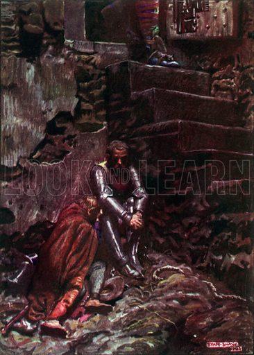 Christian and Hopeful in Doubting Castle. Illustration for The Pilgrim's Progress (Charles Scribner, c 1910).