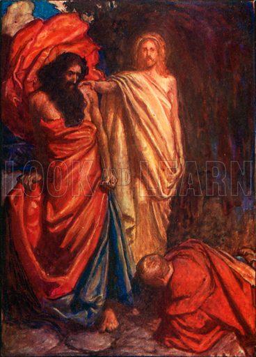 Faithful Struck Down by Moses. Illustration for The Pilgrim's Progress (Charles Scribner, c 1910).
