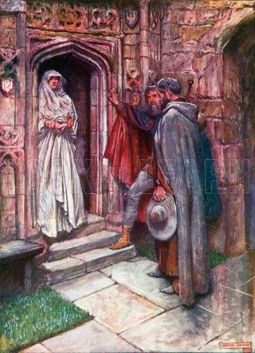 Christian before Discretion. Illustration for The Pilgrim's Progress (Charles Scribner, c 1910).