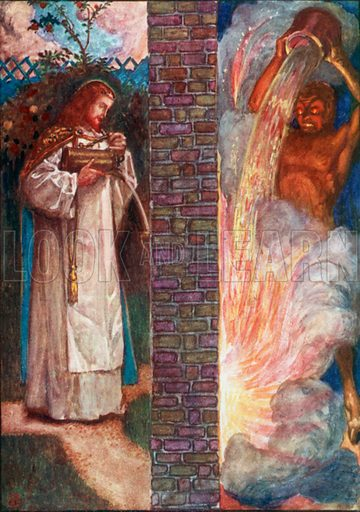 Christ and the Devil. Illustration for The Pilgrim's Progress (Charles Scribner, c 1910).