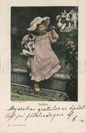 Edwardian postcard featuring children.