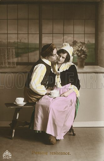 Edwardian postcard featuring lovers.