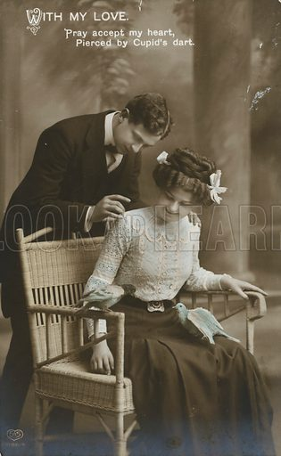 Edwardian postcard featuring couple.