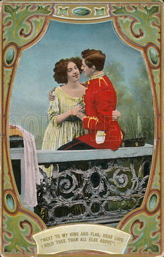 Edwardian postcard featuring couple.