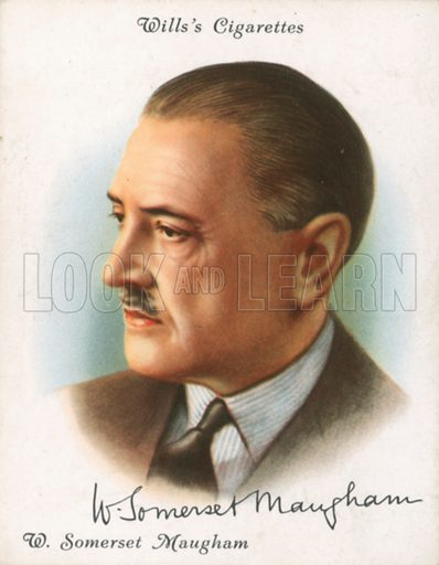 W Somerset Maugham. Illustration for Wills's Cigarette card.