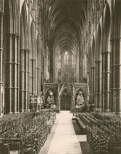The Nave, looking East. Twenty-Four Gems of Westminster Abbey (The Graphotone, c 1890).