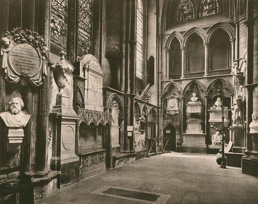 Poets' Corner, South Transept. Twenty-Four Gems of Westminster Abbey (The Graphotone, c 1890).