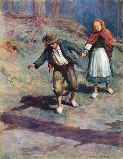 """""""They found their way home quite easily, for the moon shone brightly on the pebbles which Hansel had dropped by the way."""" Illustration for Favourite Stories from Grimm retold by Edward Shirley (Nelson, c 1910)."""