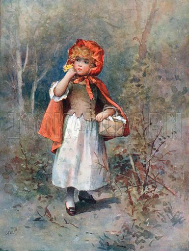 """""""She heard a gruff voice say, 'Good-morning, little girl.' """" Illustration for Favourite Stories from Grimm retold by Edward Shirley (Nelson, c 1910)."""