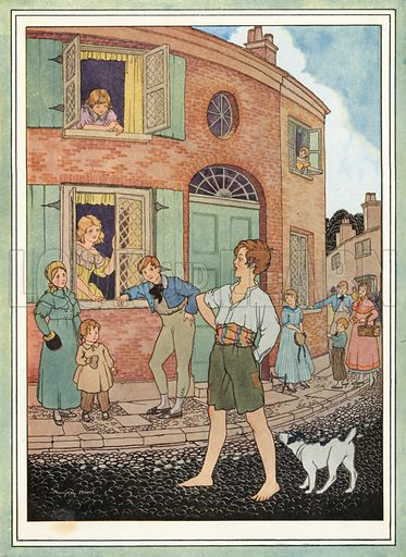 Little Tommy Tucker. Illustration for Nursery Rhymes and Proverbs (Hollis & Carter, c 1920).