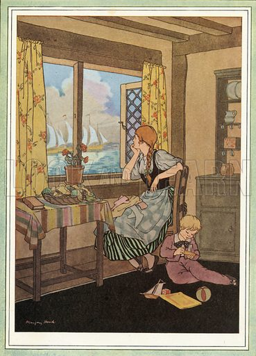 I Saw Three Ships. Illustration for Nursery Rhymes and Proverbs (Hollis & Carter, c 1920).