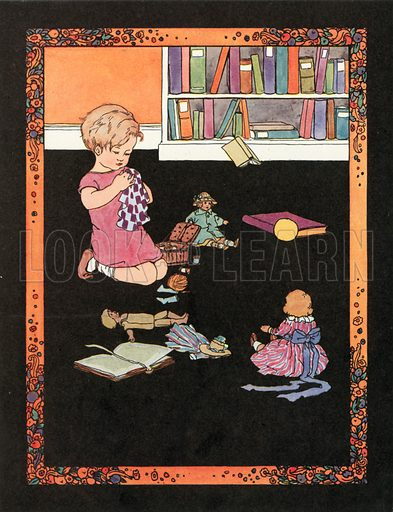 A Stitch in Time Saves Nine. Illustration for Nursery Rhymes and Proverbs (Hollis & Carter, c 1920).