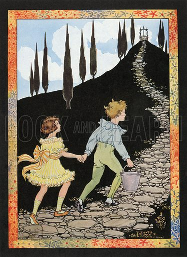 Jack and Jill. Illustration for Nursery Rhymes and Proverbs (Hollis & Carter, c 1920).