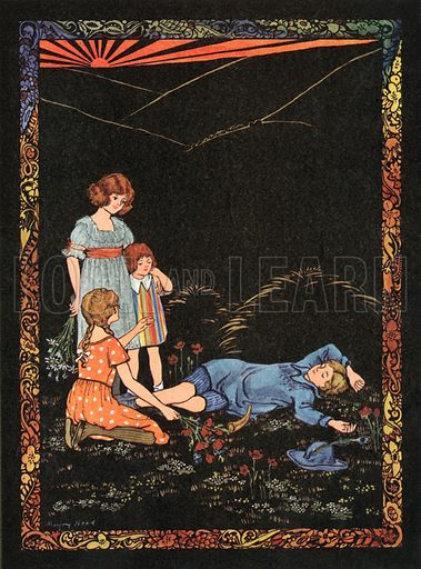 Little Boy Blue. Illustration for Nursery Rhymes and Proverbs (Hollis & Carter, c 1920).