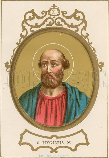 S Hyginus M Illustration in Romani Pontefici by Luigi Tripepi (Roma, 1879).