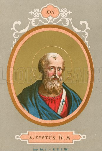 S Xystus IIM Illustration in Romani Pontefici by Luigi Tripepi (Roma, 1879).