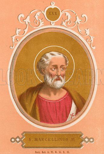 S Marcellinus M Illustration in Romani Pontefici by Luigi Tripepi (Roma, 1879).