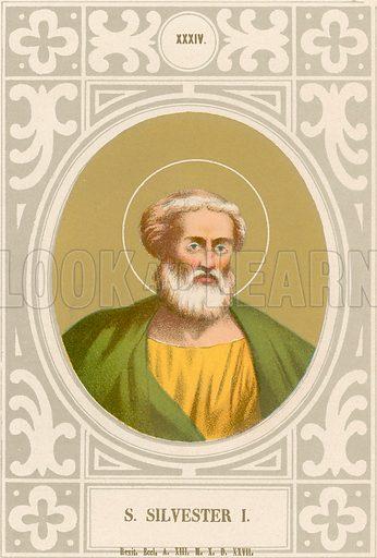 S Silvester I. Illustration in Romani Pontefici by Luigi Tripepi (Roma, 1879).
