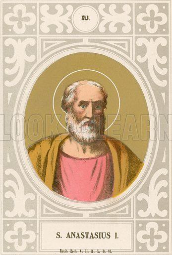 S Anastasius I. Illustration in Romani Pontefici by Luigi Tripepi (Roma, 1879).