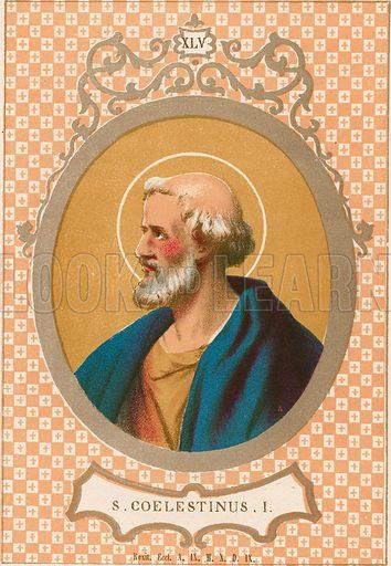 S Coelestinus I. Illustration in Romani Pontefici by Luigi Tripepi (Roma, 1879).
