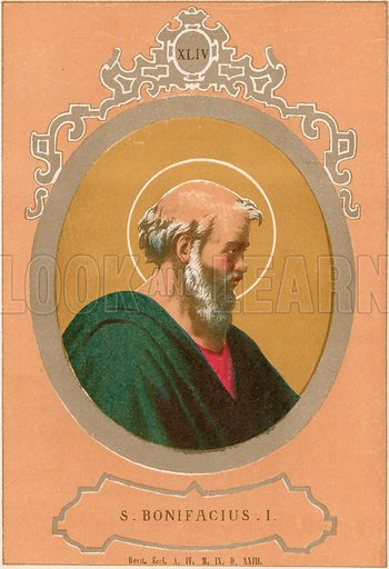 S Bonifacius I. Illustration in Romani Pontefici by Luigi Tripepi (Roma, 1879).