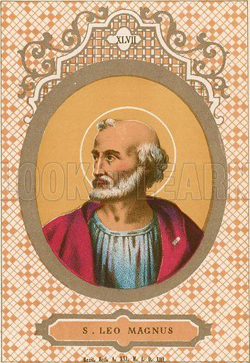 S Leo Magnus. Illustration in Romani Pontefici by Luigi Tripepi (Roma, 1879).