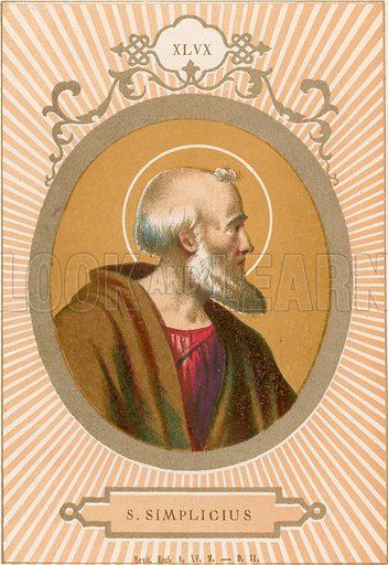 S Simplicius. Illustration in Romani Pontefici by Luigi Tripepi (Roma, 1879).