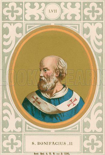 S Bonifacius II. Illustration in Romani Pontefici by Luigi Tripepi (Roma, 1879).