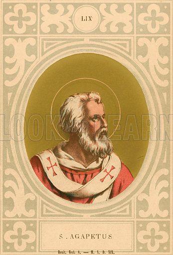 S Agapetus. Illustration in Romani Pontefici by Luigi Tripepi (Roma, 1879).