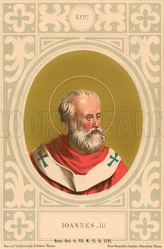 Ioannes III. Illustration in Romani Pontefici by Luigi Tripepi (Roma, 1879).