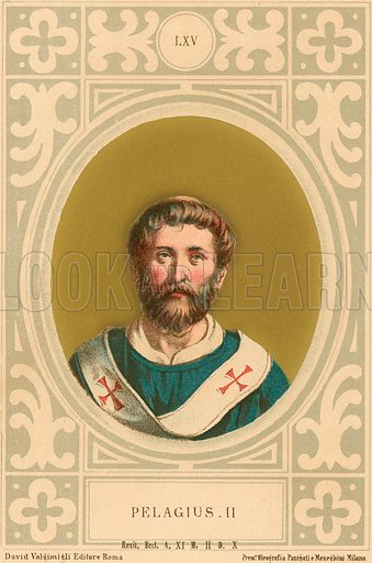 Pelagius II. Illustration in Romani Pontefici by Luigi Tripepi (Roma, 1879).