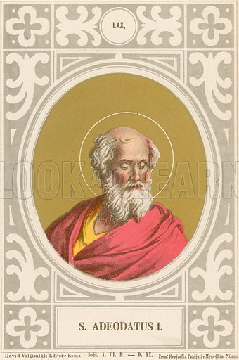 S Adeodatus I. Illustration in Romani Pontefici by Luigi Tripepi (Roma, 1879).