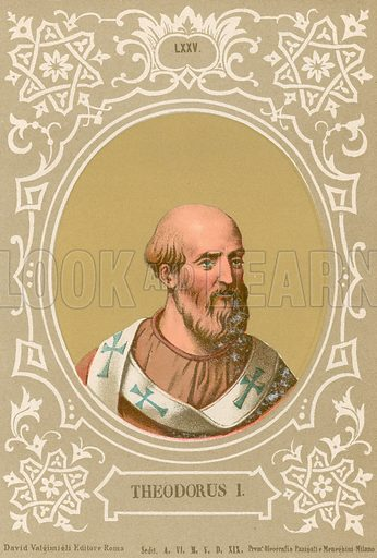 Theodorus I. Illustration in Romani Pontefici by Luigi Tripepi (Roma, 1879).