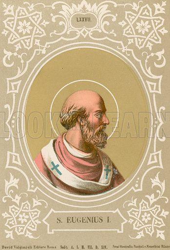 S Eugenius I. Illustration in Romani Pontefici by Luigi Tripepi (Roma, 1879).