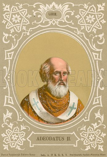 Adeodatus II. Illustration in Romani Pontefici by Luigi Tripepi (Roma, 1879).