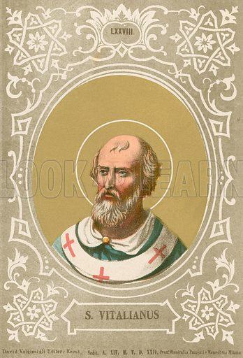 S Vitalianus. Illustration in Romani Pontefici by Luigi Tripepi (Roma, 1879).