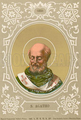 S Agatho. Illustration in Romani Pontefici by Luigi Tripepi (Roma, 1879).