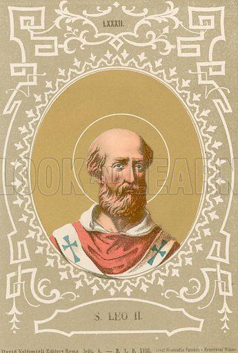 S Leo II. Illustration in Romani Pontefici by Luigi Tripepi (Roma, 1879).