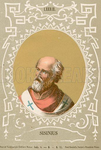 Sisinius. Illustration in Romani Pontefici by Luigi Tripepi (Roma, 1879).