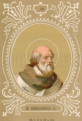 S Gregorius II. Illustration in Romani Pontefici by Luigi Tripepi (Roma, 1879).