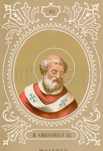 S Gregorius III. Illustration in Romani Pontefici by Luigi Tripepi (Roma, 1879).