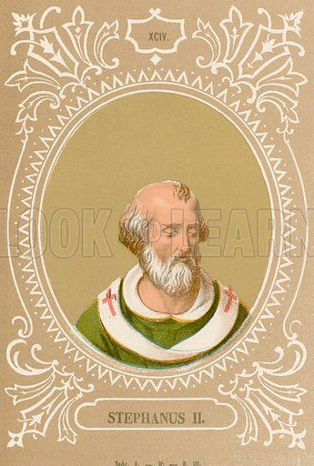 Stephanus II. Illustration in Romani Pontefici by Luigi Tripepi (Roma, 1879).