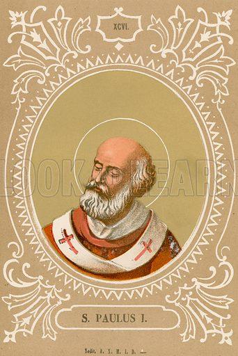 S Paulus I. Illustration in Romani Pontefici by Luigi Tripepi (Roma, 1879).