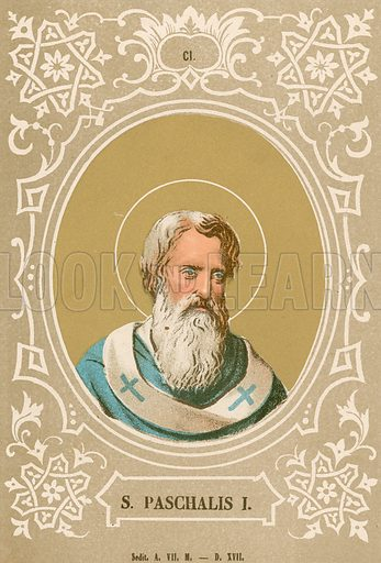 S Paschalis I. Illustration in Romani Pontefici by Luigi Tripepi (Roma, 1879).