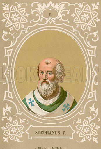 Stephanus V. Illustration in Romani Pontefici by Luigi Tripepi (Roma, 1879).